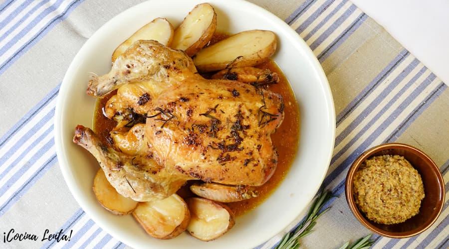 Pollo asado con patatas Crock-Pot